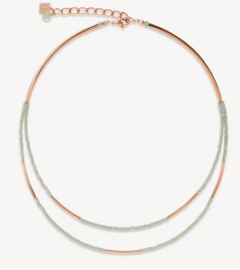 Necklace Waterfall small stainless steel rose gold & glass light green