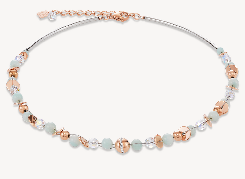Necklace TwistedPEARLS Amazonite & stainless steel rose gold mint green