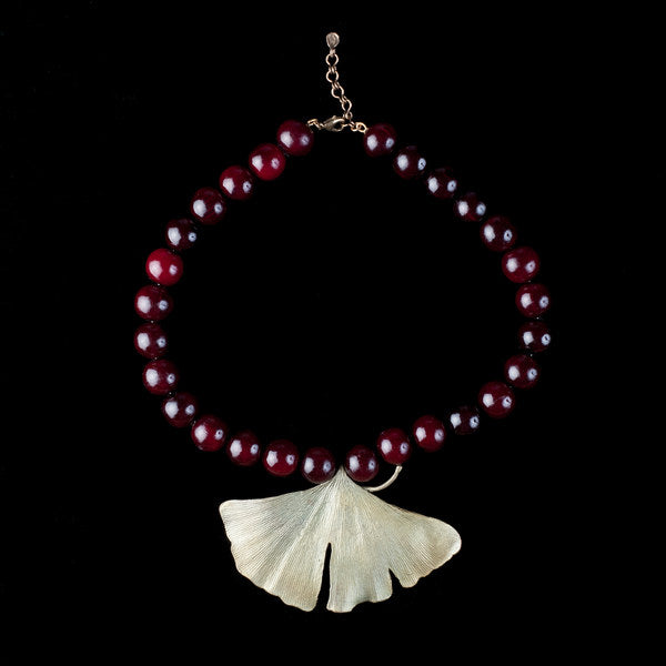 Beaded Gingko Necklace