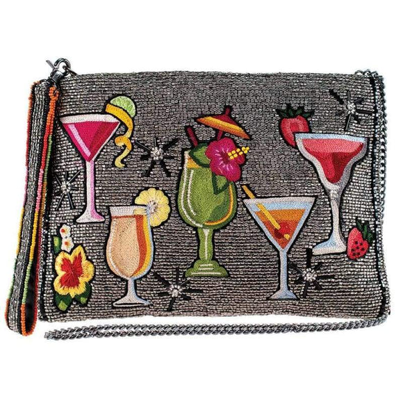 Mixed Drinks Beaded Crossbody Clutch Handbag