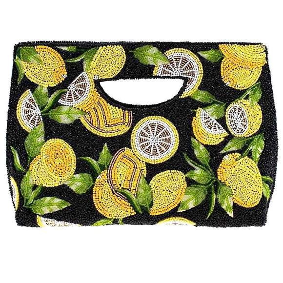 Zesty Beaded Lemons Handle Bag