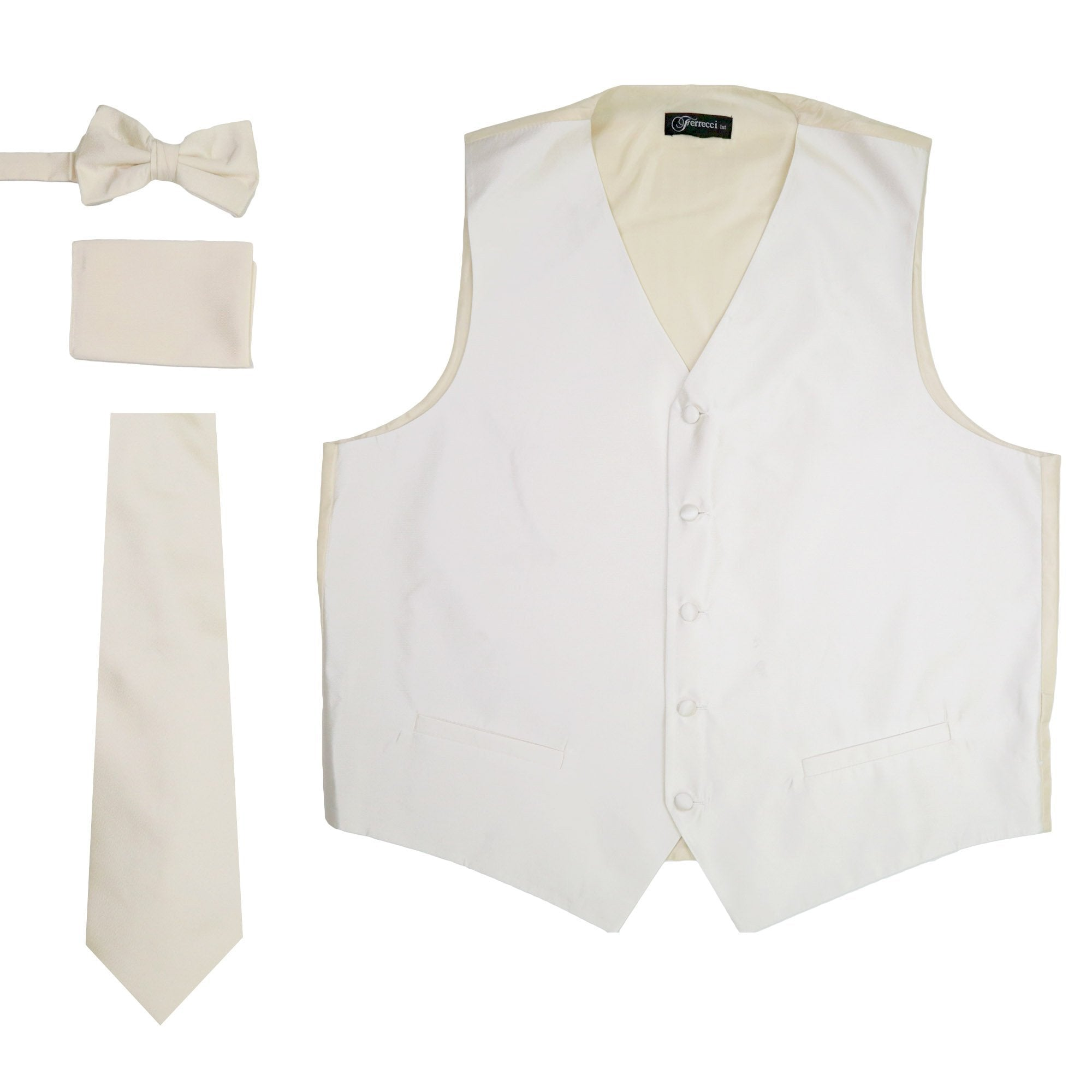 Ferrecci Mens Solid Off-White Wedding Prom Grad Choir Band 4pc Vest Set - Giorgio's Menswear