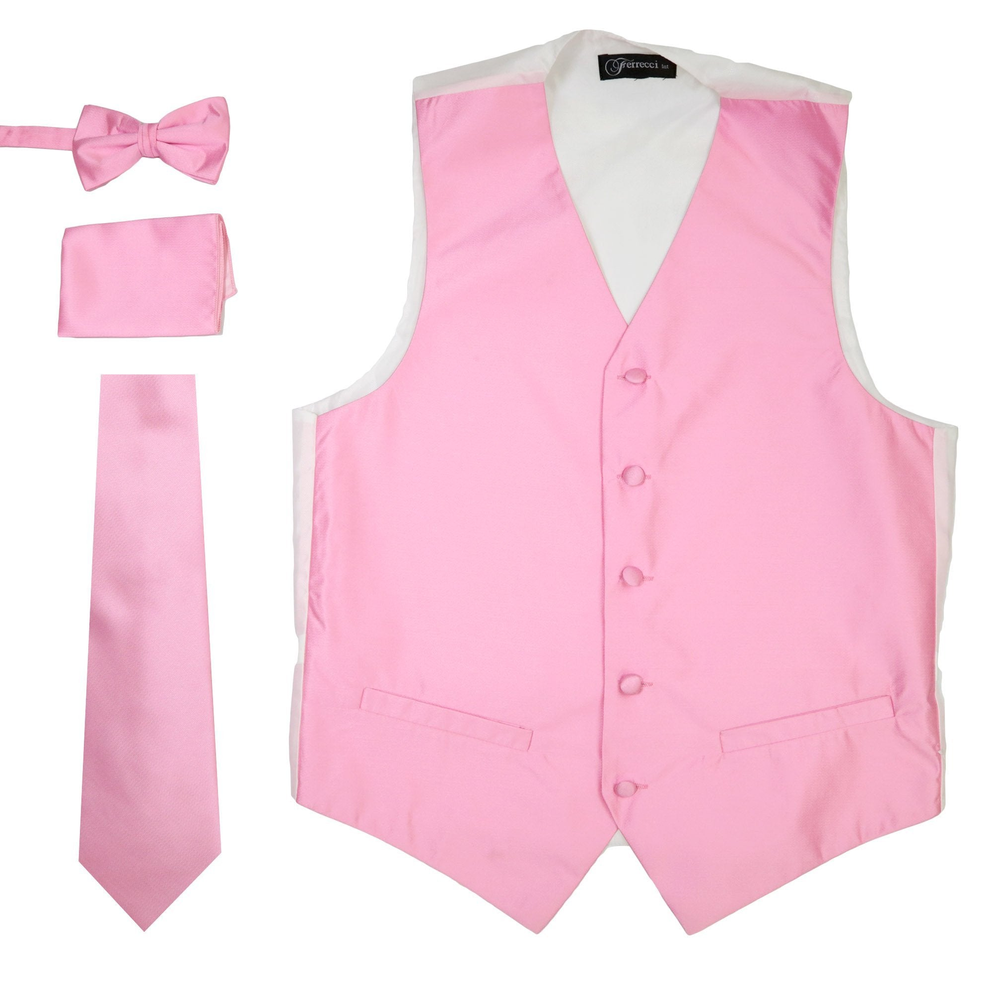 Ferrecci Mens Solid Pink Wedding Prom Grad Choir Band 4pc Vest Set - Giorgio's Menswear