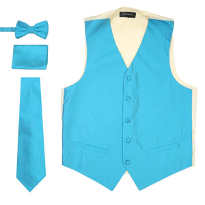 Ferrecci Mens Solid Light Blue-Cream Wedding Prom Grad Choir Band 4pc Vest Set - Giorgio's Menswear