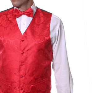Ferrecci Mens Red Paisley Wedding Prom Grad Choir Band 4pc Vest Set - Giorgio's Menswear