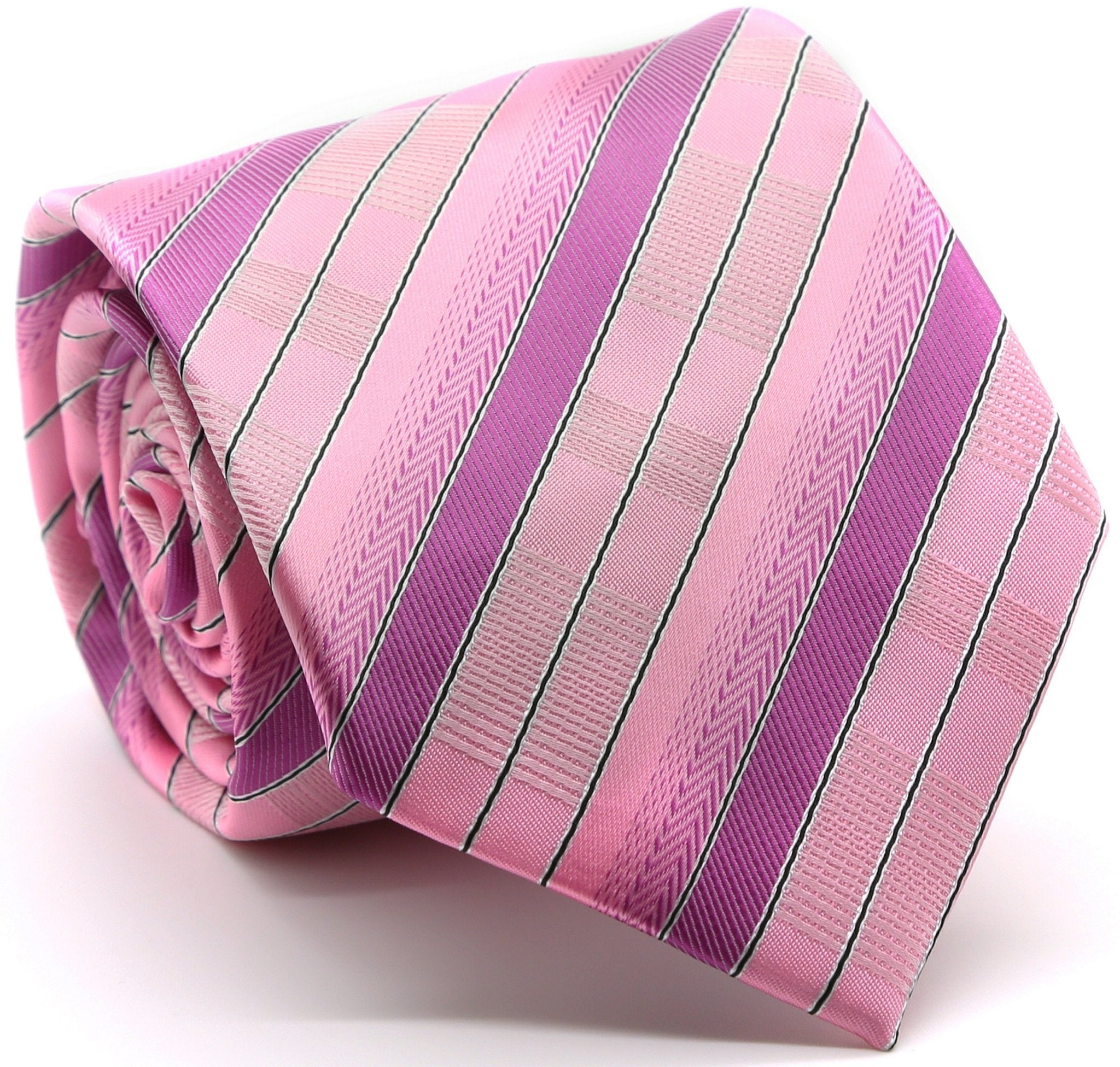 Mens Dads Classic Pink Stripe Pattern Business Casual Necktie & Hanky Set A-9 - Giorgio's Menswear