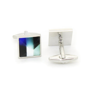 Silvertone Mix Stripe Cuff Links With Jewelry Box - Giorgio's Menswear