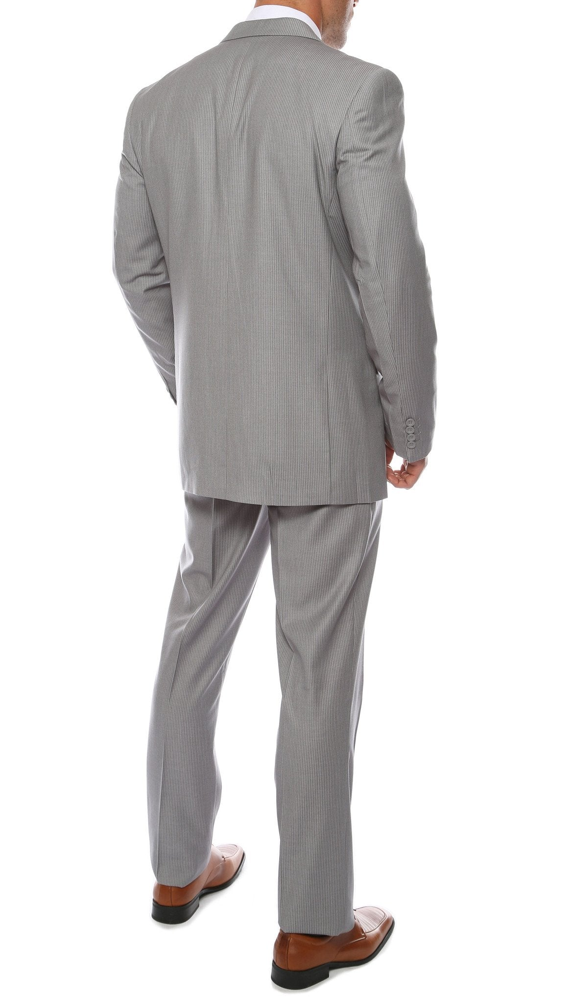 Alfa Light Grey Chalk 2pc Slim Fit Pinstripe Suit - Giorgio's Menswear