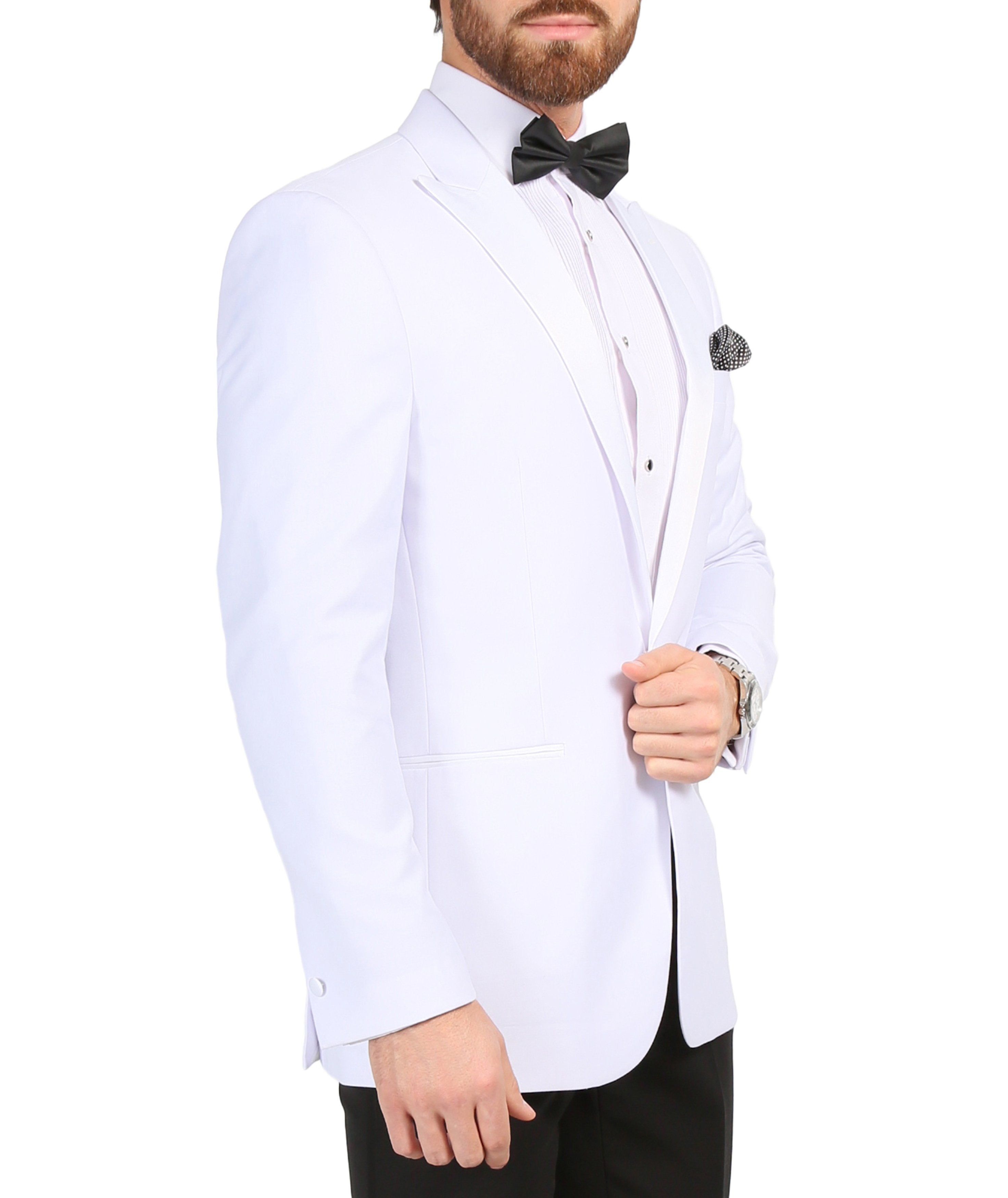 Ferrecci Men's Aura White Slim Fit Peak Lapel Tuxedo Dinner Jacket - Giorgio's Menswear