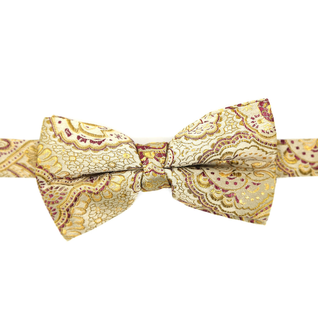 Luxury Paisley Tapestry Gold Bow Tie - Giorgio's Menswear