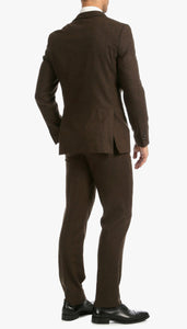 Bradford Cognac Slim Fit 3pc Tweed Suit - Giorgio's Menswear