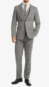 Bradford Grey Slim Fit 3pc Tweed Suit - Giorgio's Menswear