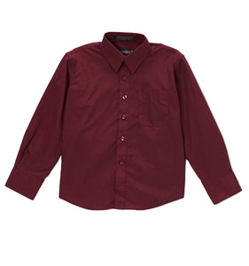 Premium Solid Cotton Blend Burgundy Dress Shirt - Giorgio's Menswear