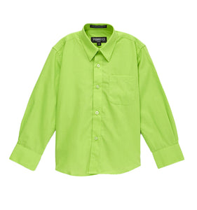 Premium Solid Cotton Blend Lime Green Dress Shirt - Giorgio's Menswear