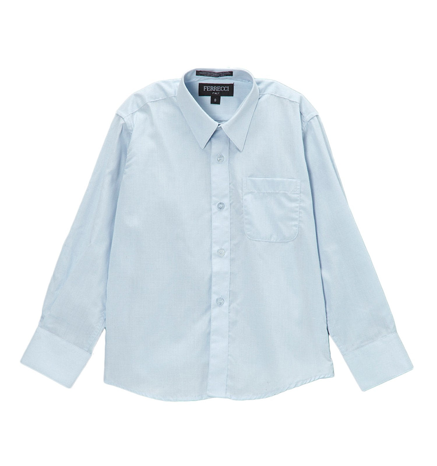 Premium Solid Cotton Blend Light Blue Dress Shirt - Giorgio's Menswear