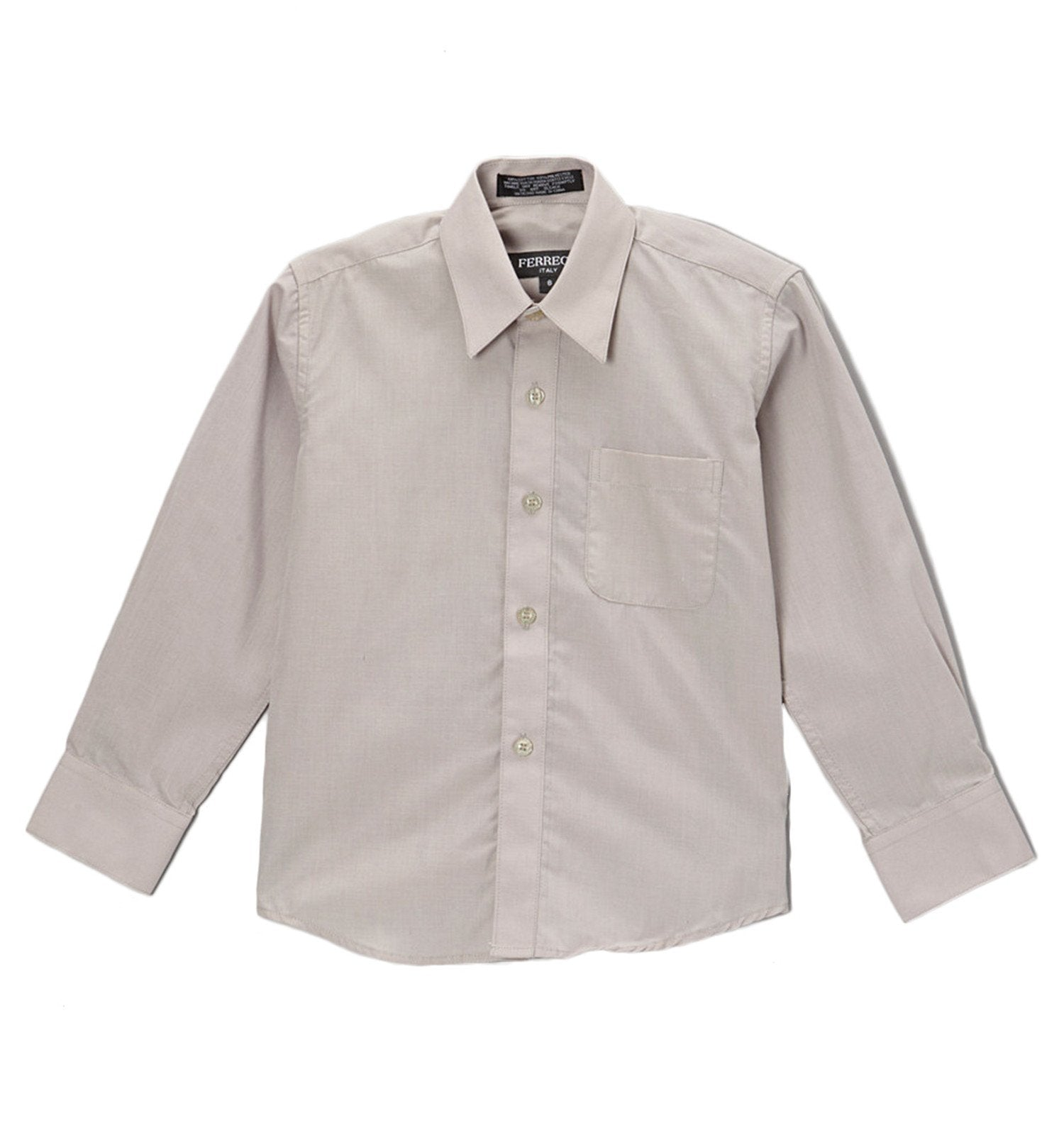 Premium Solid Cotton Blend Light Grey Dress Shirt - Giorgio's Menswear