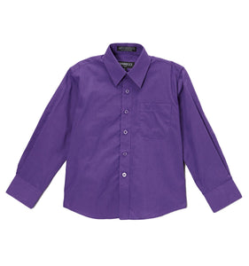 Premium Solid Cotton Blend Purple Dress Shirt - Giorgio's Menswear