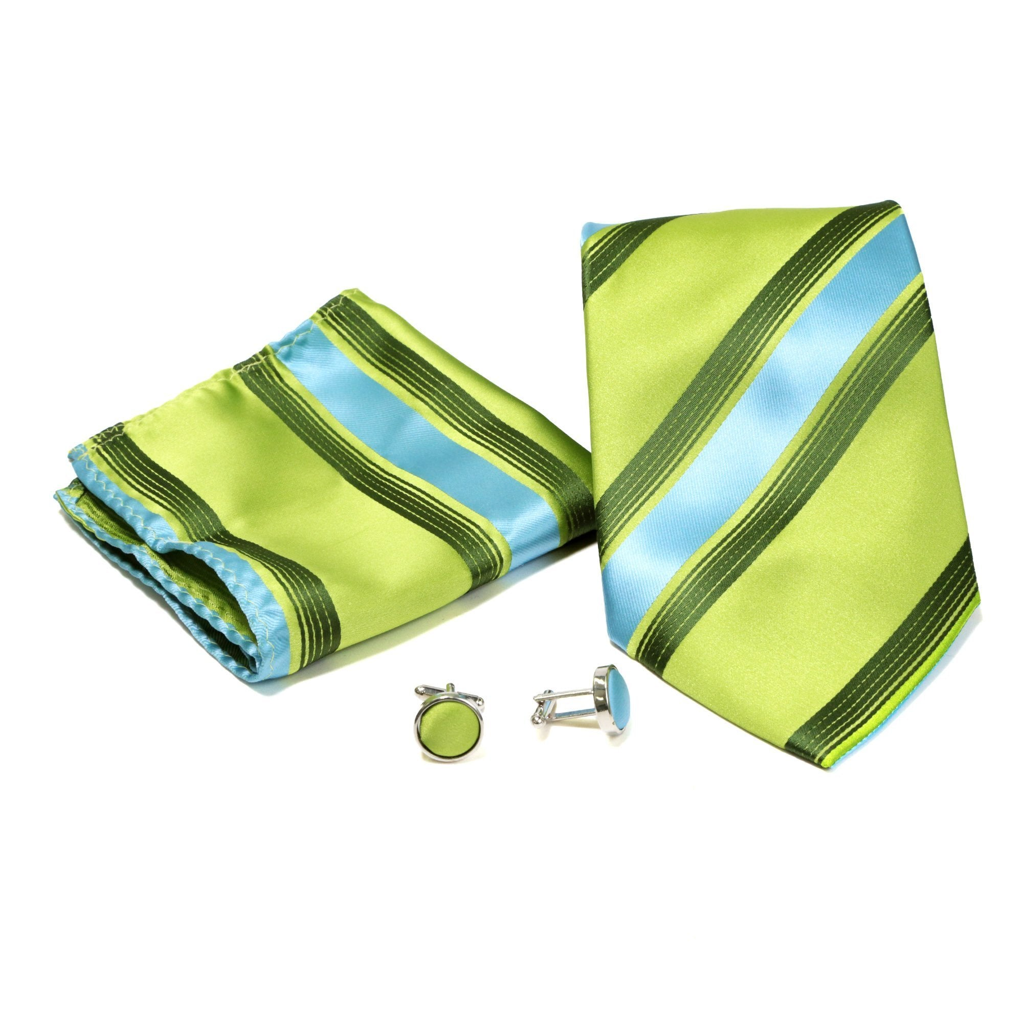 Men's Shiny Green-Turquoise Striped Design 4-pc Necktie Box Set - Giorgio's Menswear