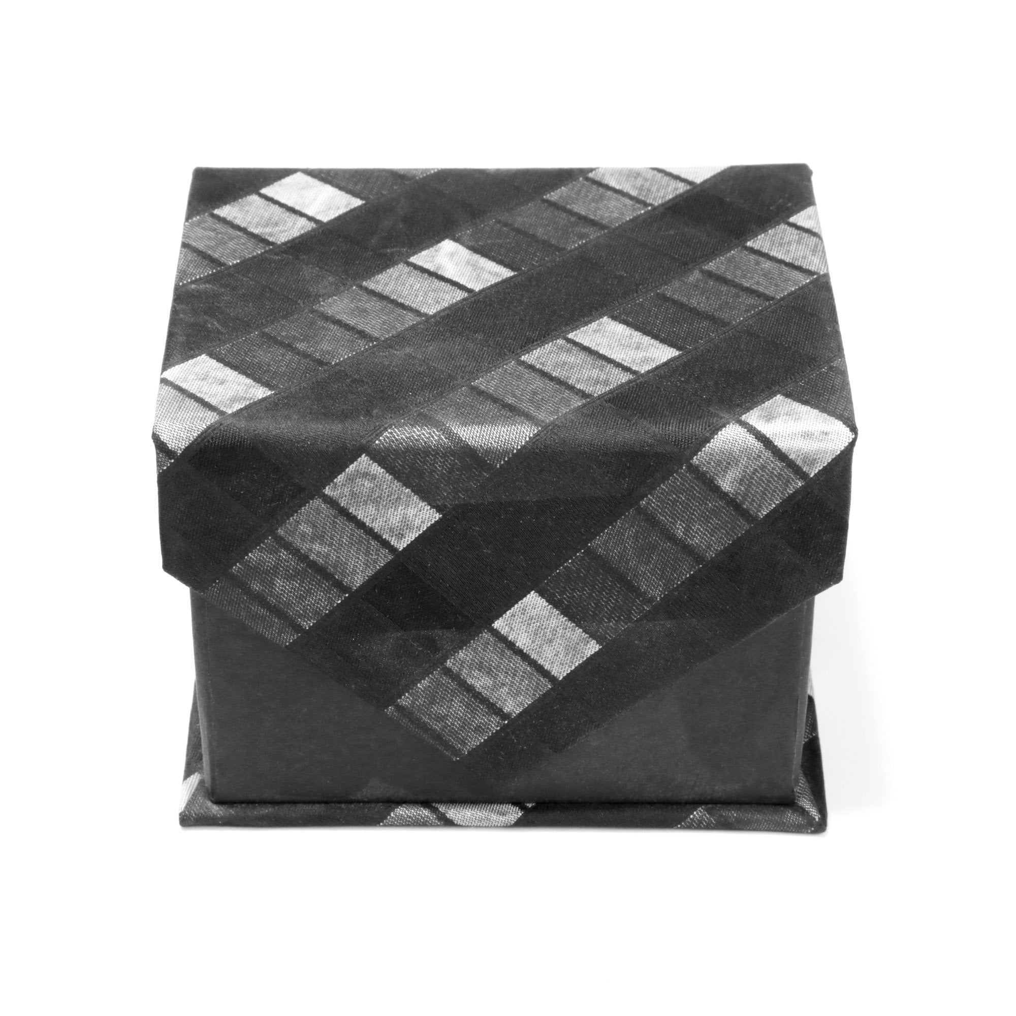 Men's Shiny Black& White Cross-Striped Design 4-pc Necktie Box Set - Giorgio's Menswear