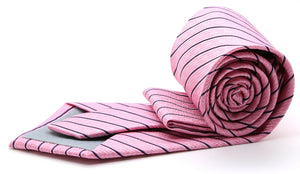 Mens Dads Classic Pink Striped Pattern Business Casual Necktie & Hanky Set C-10 - Giorgio's Menswear