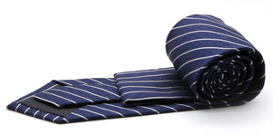 Mens Dads Classic Navy Striped Pattern Business Casual Necktie & Hanky Set C-2 - Giorgio's Menswear