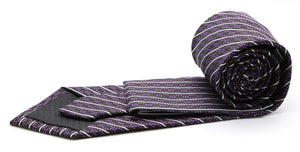 Mens Dads Classic Purple Striped Pattern Business Casual Necktie & Hanky Set C-5 - Giorgio's Menswear