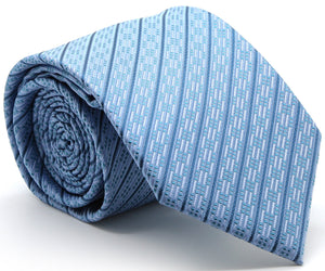 Mens Dads Classic Blue Striped Pattern Business Casual Necktie & Hanky Set C-8 - Giorgio's Menswear