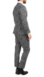 Chicago Slim Fit Black & White Spotted Notch Lapel Suit - Giorgio's Menswear