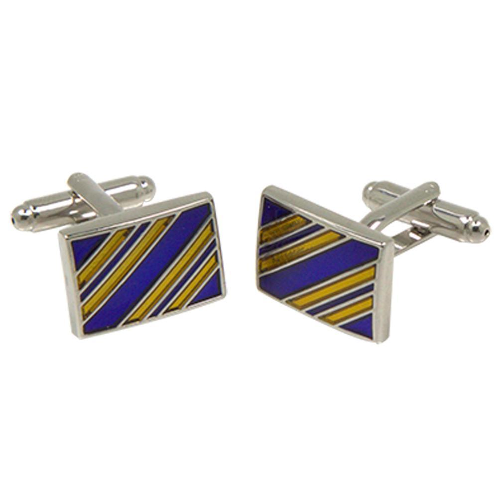 Silvertone Square Gold/Blue Stripe Cufflinks with Jewelry Box - Giorgio's Menswear