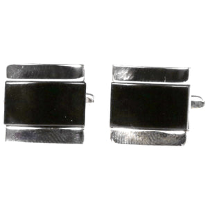 Silvertone Black Gemstone Cufflinks with Jewelry Box - Ferrecci USA