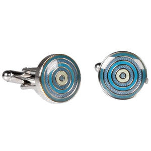 Silvertone Circle Blue Cufflinks with Jewelry Box - Giorgio's Menswear