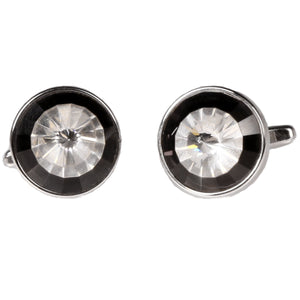 Silvertone Circle Burgundy Stone Cufflinks with Jewelry Box - Giorgio's Menswear