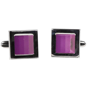 Silvertone Square Purple Gradient Cufflinks with Jewelry Box - Ferrecci USA