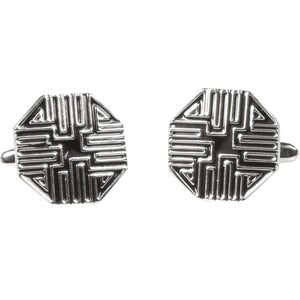 Silvertone Silver Geometric Pattern Cufflinks with Jewelry Box - Ferrecci USA