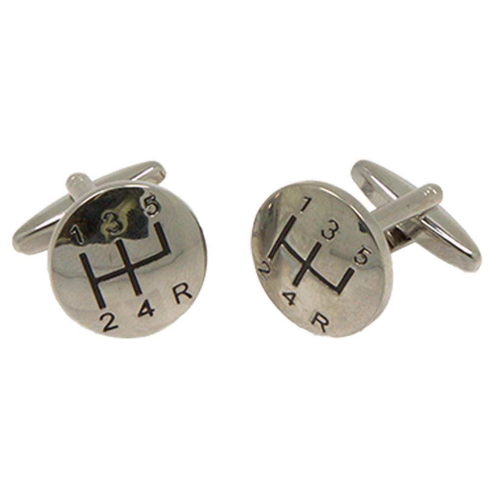 Silvertone Novelty Gear Stick Cufflinks with Jewelry Box - Giorgio's Menswear