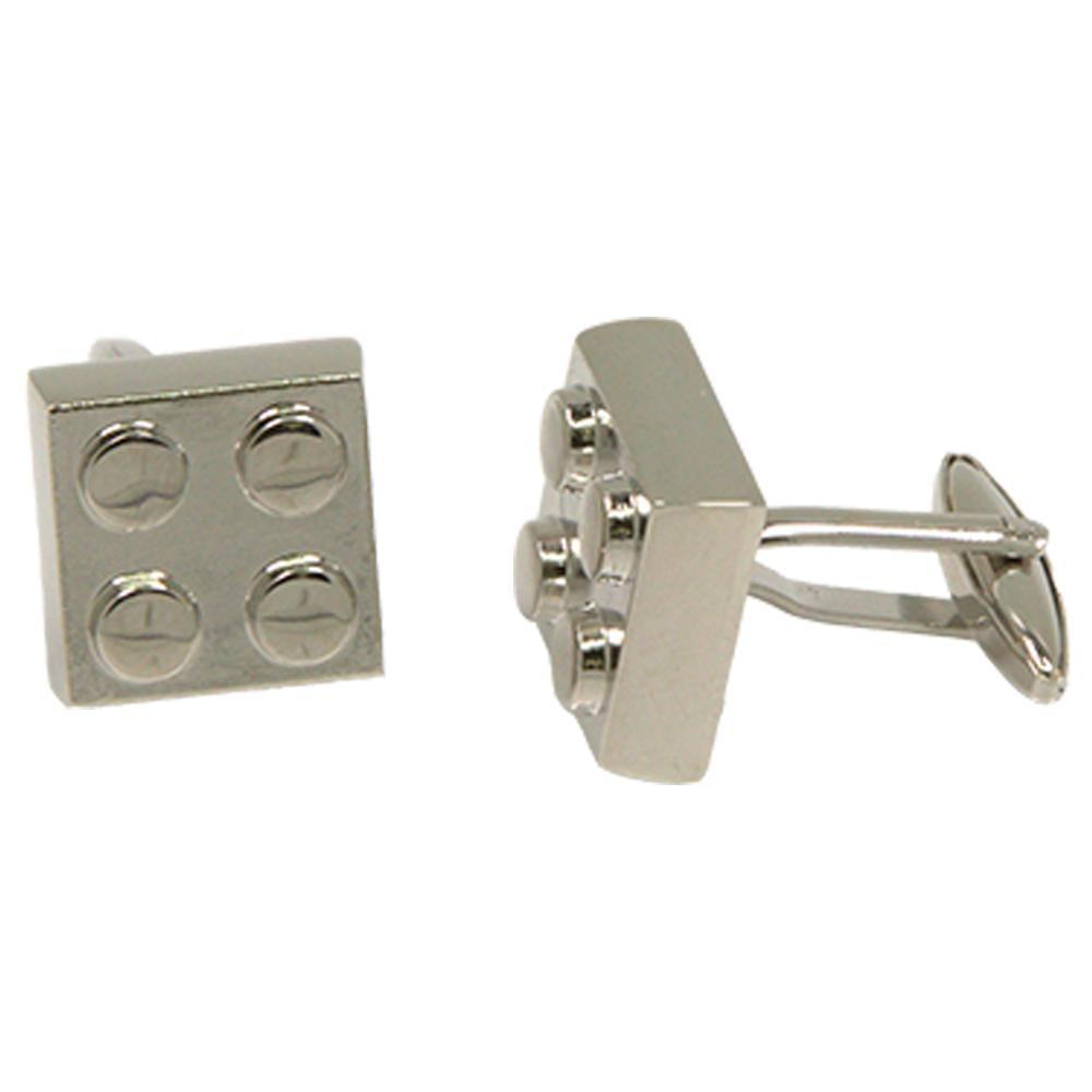 Silvertone Novelty Lego Cufflinks with Jewelry Box - Giorgio's Menswear