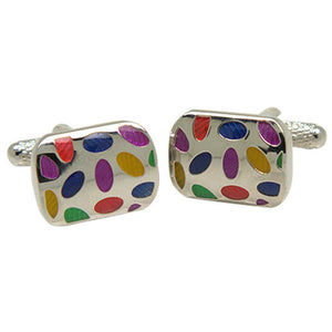 Silvertone Square Multicolor Dots Cufflinks with Jewelry Box - Giorgio's Menswear