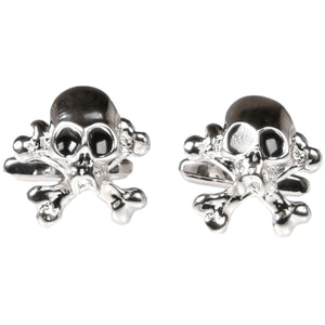 Silvertone Novelty Skull Cufflinks with Jewelry Box - Giorgio's Menswear