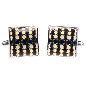 Silvertone Square Geometric Dots Cufflinks with Jewelry Box - Giorgio's Menswear