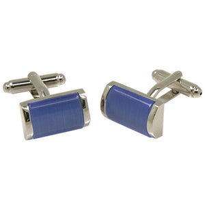 Silvertone Blue Gemstone Cufflinks with Jewelry Box - Ferrecci USA