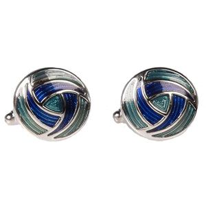 Silvertone Circle Geometric Pattern Cufflinks with Jewelry Box - Ferrecci USA