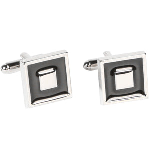 Silvertone Square Black Cufflinks with Jewelry Box - Giorgio's Menswear