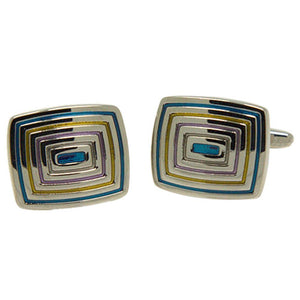 Silvertone Square Blue and Gold Cufflinks with Jewelry Box - Ferrecci USA