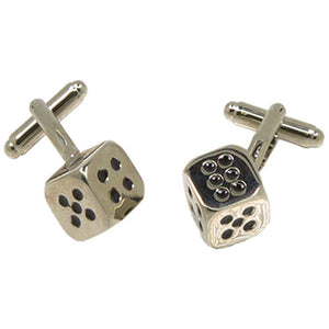 Silvertone Novelty Dice Cufflinks with Jewelry Box - Ferrecci USA