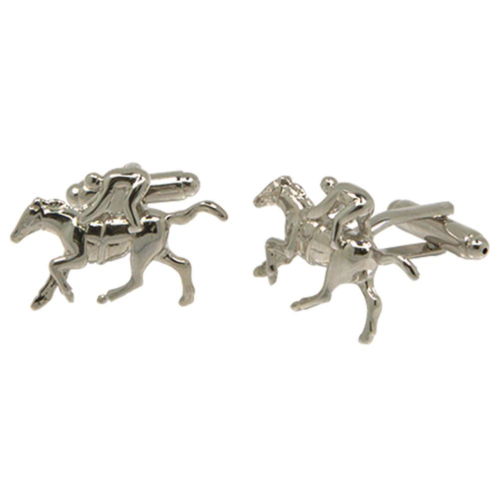 Silvertone Novelty Horse Jockey Cufflinks with Jewelry Box - Ferrecci USA