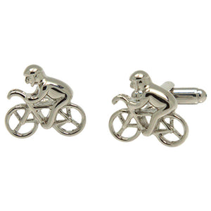 Silvertone Novelty Cyclist Cufflinks with Jewelry Box - Giorgio's Menswear