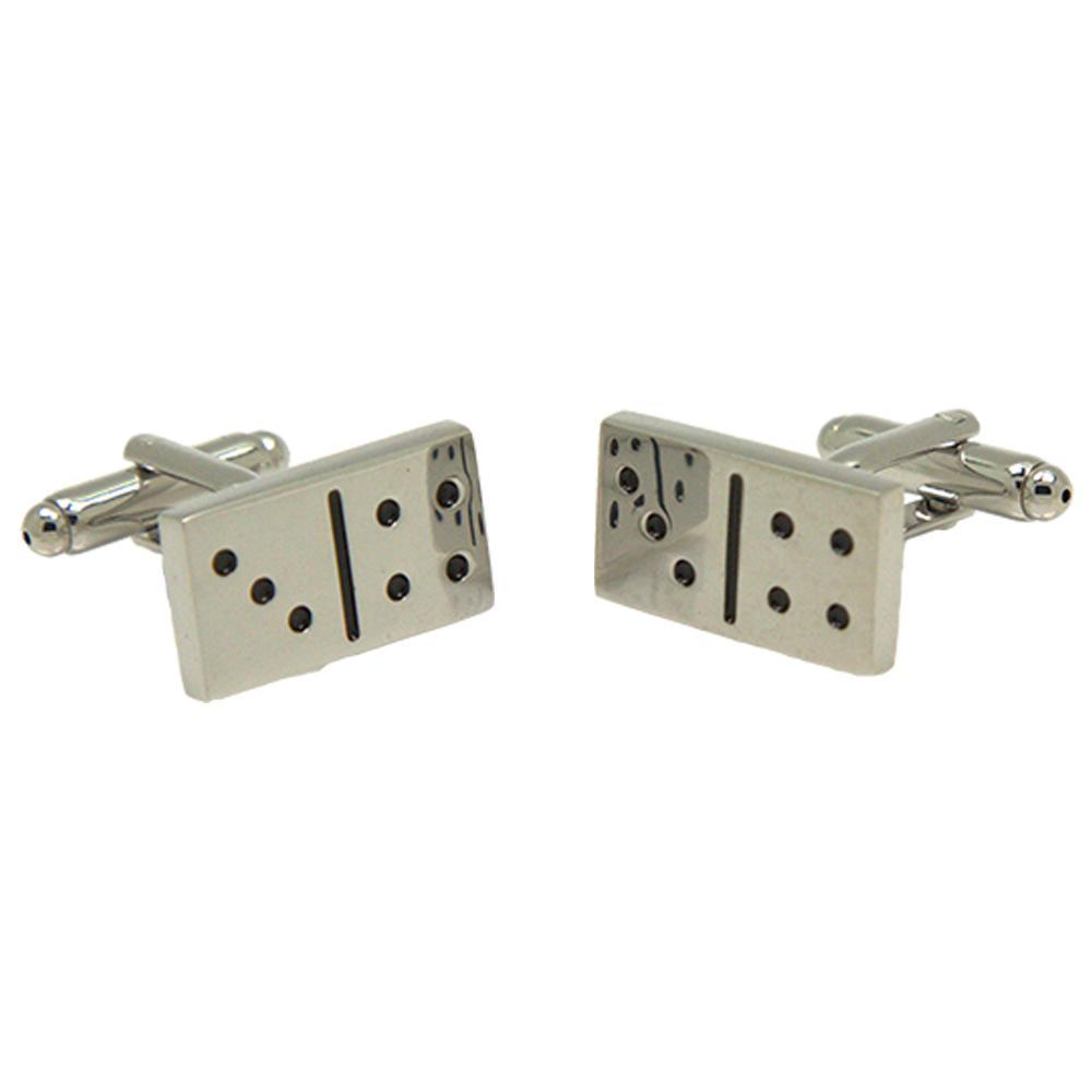Silvertone Novelty Domino Cufflinks with Jewelry Box - Ferrecci USA