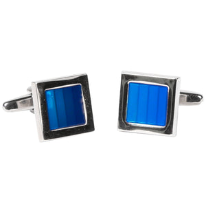Silvertone Square Blue Gemstone Cufflinks with Jewelry Box - Giorgio's Menswear
