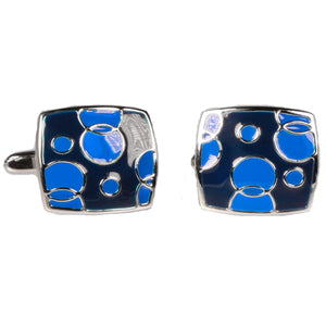 Silvertone Square Blue Bubbles Cufflinks with Jewelry Box - Giorgio's Menswear