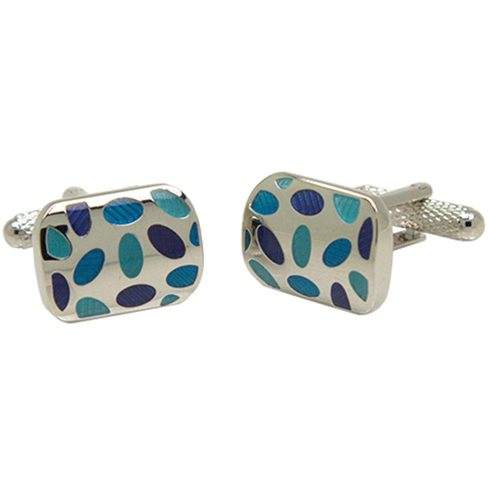 Silvertone Square Blue Oval Pattern Cufflinks with Jewelry Box - Ferrecci USA
